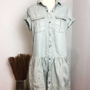 Max Jeans Olive Green Utility Cargo Shirt Dress